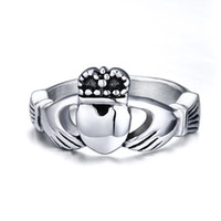 Anello nuziale Irish Claddagh Anello anello in acciaio inox Dimensione 5-10 Vendita calda in Irlanda Banda promessa di fidanzamento
