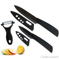 سوبر جودة شفرة سكين الخزف الأسود 3pcs مجموعة 3 بوصة + 5 بوصة + مقشرة + يغطي سكين الخزف سكين مطبخ مجموعات