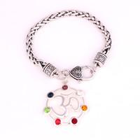 Sieben Chakra funkeln Kristalle Symbol Yoga Charme Buddhismus religiöse hohle Anhänger Yoga Yogi Charm Link Weizen Armband