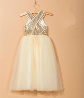 Sequined Round Neck Long Flower Girl Dress with Sequin Waist...