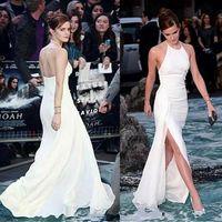 2020 neue elegante Emma Watson Celebrity Kleider Neckholder Backless weiße Chiffon- Side-split bodenlangen Abendkleid Abschlussball-Partei-Kleider