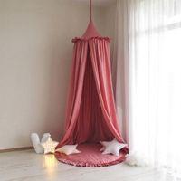 Encaje Mosquito Net Princess Style Round Hung Dome cama Canopy algodón lino Mosquito Net cortina para niños niña decoración de la habitación