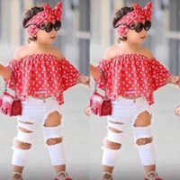 3pcs Suit Girls Clothes Summer Baby Off Shoulder Tops + Jeans...