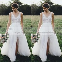 Sexy side slit boho Lace backless beach Wedding Gowns lace i...