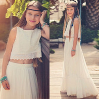 New Arrival 2018 Boho Flower Girls Dresses Jewel Neck A Line...