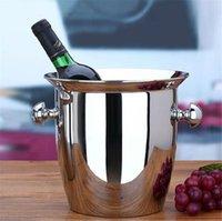Acero inoxidable buena calidad Gran cubo de hielo rojo del refrigerador de vino de Champagne compartimiento envase KTV Club Bar Material 5L