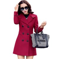 Women' s woolen coat long- sleeved long section Slim wild...