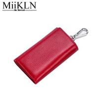 MiiKLN الجمال الشهير حامل مفتاح المحفظة أحمر وردي أسود أزرق حامل المفاتيح جلد البقر حقيقية السوستة المفاتيح القضية الصلبة