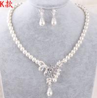 Gros Perles Bijoux De Mariée Collier Boucles D'oreilles Ensembles avec Faux Perles Prom Party De Mariage Cristal Bijoux Accessoires De Mariée Pas Cher
