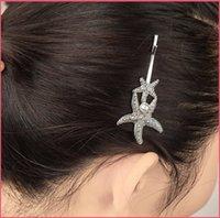 Europa de la manera de la concha con las estrellas de mar de perlas de plástico horquilla de oro o de plata chapado de la Mujer de regalo pinza de pelo