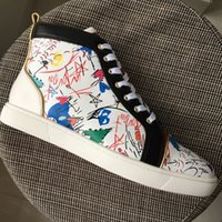 New Mens Womens Black With Printed Leather Patchwork High To...