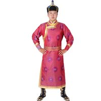 Nuevo estilo vestido nacional traje largo masculino traje de Mongolia tradicional fiesta de la boda los artistas ejecutan ropa de la etapa de la danza popular