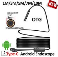 8 мм OD 2MP 8LED 10 М 5 м Android USB Тип C эндоскоп камеры гибкий HardWire жесткий кабель автомобиля трубы инспекции камера