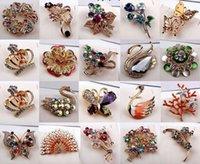 10pcs / lot Mélanger Style Mode Crystal Broches Pinches pour bijoux Craft Cadeau BR03