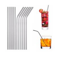 100 قطع متعدد الحجم مستقيم و منحنى المقاوم للصدأ الشرب القش 8.5 10.5 بوصة reusable ايكو المعادن سترو بار أدوات المشروبات