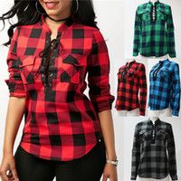 Factory Women Plaid Bandage sweatshirts V- neck loose blouse ...