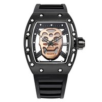 Mens Sport Watch Hollow- out Skeleton Silicone Band Quartz Wa...