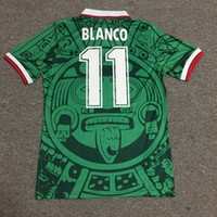 1998 Camiseta de fútbol Retro Mexico home green away white W...