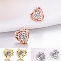 Moda coração forma gem diamante garanhão brincos para mulheres luxo jóias presente rosa brincos de prata ouro