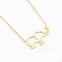 Collier Femme Stainless Steel Gold Chain Origami Elephant Pe...