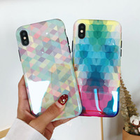 For iPhone 6 Plus iPhone X Diamond Pattern Phone Case Back C...