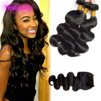 Brazilian Virgin Hair 3 Bundles With 4X4 Lace Closure Body W...