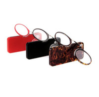 Occhiali da lettura riposanti con naso da +1.0 a +3.5, clip per portafogli portatile SOS su occhiali da lettura con custodia