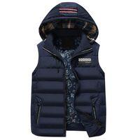 Erkek Kış Ceketler Rahat Kalın Yelek Kolsuz Hoodie Palto Erkek Sıcak Pamuk-Yastıklı Yelek yeni moda stlyle