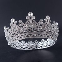 Европейские и американские невесты высокого класса Crown Alloy с круглой короной Queen Повязки свадебное платье Аксессуары Головные уборы Ювелирные изделия