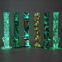 14 pulgadas Bong pipa de fumar cera DAB agua silicona hierba tabaco modelada brillo en la oscuridad con un recipiente de vidrio