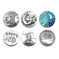 Alta calidad W038 18mm 20mm botón de metal lunar para botón a presión Pulsera Collar Joyas Para Mujeres Joyería de plata