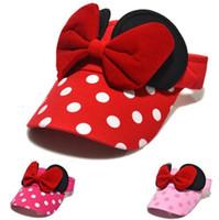 Novo bebê crianças viseiras caps chapéus dos desenhos animados bowknot tampas crianças cor sólida dot caps meninas chapéu de sol crianças chapéu de verão