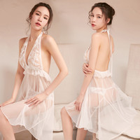 Ladies Sexy Lingerie Hang Neck See Through Long Dress Lace M...