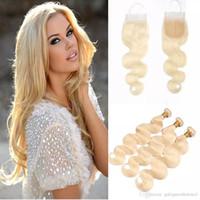 Vague corporelle droite brésilienne cheveux humains tisse de 3 paquets 613 Blonde Human Cheveux Bundles avec fermetures Fronts Honey Platinum Vierge Cheveux