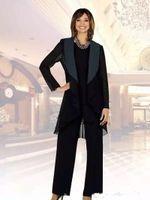 2018 New Black Chiffon Madre della sposa Suits Plus Size Cheap Madre della Sposa Sposa Sposo Suit per il vestito da sposa