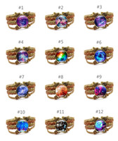 Milky Way and stars time gem bracelet Vintage multilayer PU ...