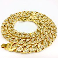 Mens 18K Gold Plated Full AAA Rhinestone Hip hop Cuba link C...