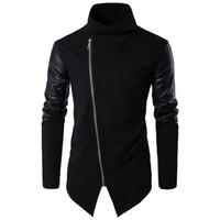 Manteau à col roulé en cuir noir à la mode pour hommes Automne Hiver Manches longues Manteau Punk Motor Men Slim Fit EUR Taille Vêtements