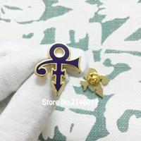 10pcs Prince Love Symbol Symbo Badge Hard Smalto Smalto Pins e Spilla 27mm Pulogruppo popolare Pezzo personalizzato Pin Viola Bianco Musicista Metallo Musicista