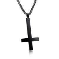 Collana con pendente a croce rovesciata per San Pietro in acciaio inossidabile per uomo Collana girocollo in acciaio inossidabile con collana di gioielli di Crux de Sanctus Petrus