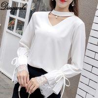 Dingaozlz rendas encabeça roupa elegante mulheres costurando camisa de chiffon de moda oco arco fora costura chiffon blusa coreano