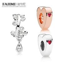 Fahmi 100% 925 Sterling Silver Charm Rose Dos corazones espaciador Dos corazones espaciador araña chandelier gotillas espaciador encanto
