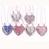 Friends Gift 1set a lot best friend crystal heart pendant family with snake chain hearts necklace