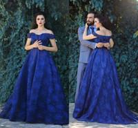 2018 Dubai Arab Royal Blue A Line Prom Dresses Off spalla pieno pizzo Applique pavimento lunghezza abiti da sera abito formale per le donne personalizzate
