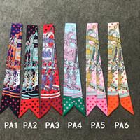 Luxus-Gürtel Handtasche Schals Frauen ahmen Silk Haar Schal Kopftuch Halstuch-Blumen-Druck-Streifen Griff Tasche Band Schal Wraps
