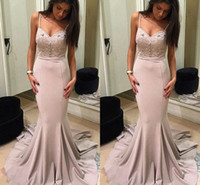 Elegant Mermaid Evening Dresses V Neck Spaghetti Sleeveless ...