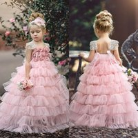Lovely Pricess Flower Girl Dresses Square Short Sleeves Tiered Pleated Backless Floor-Length Custom Made Formal Party Gowns With Flower