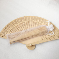 50pcs lot Engrave logo sandalwood Folding fan with organza b...