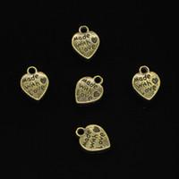 188 pcs liga de zinco encantos antigo banhado a ouro coração feito com amor encantos para fazer jóias diy handmade pingentes 10mm
