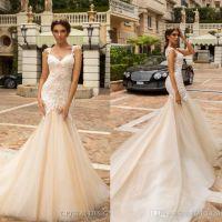 Hermosa Berta sirena vestidos de novia 2018 Sexy sin espalda vestidos de novia correas espaguetis vestido de novia de encaje completo Vestidos de Noivas